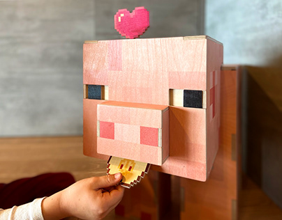 Toy&box PixelPig. Free download plywood model