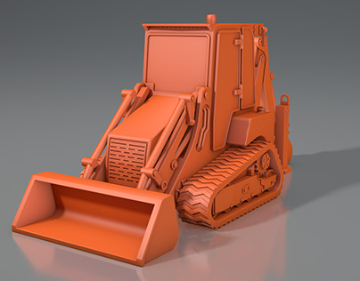3d model of a crawler mini tractor