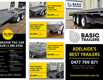 A4 Tri-fold Brochure for Basic Trailers in Adelaide