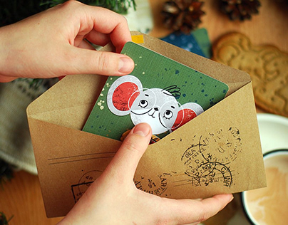 New Year greeting cards Little mouses for local bacery