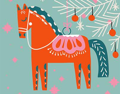 Folk art Christmas greetings cards
