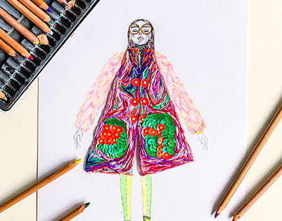 Embroidery Fashion Illustration