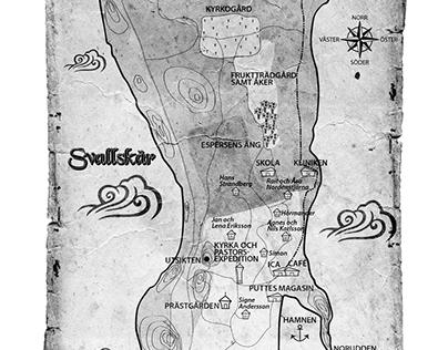 Map over fictive island in Nykomlingen