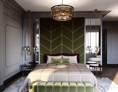 Visualization of neoclassic bedroom in Almaty