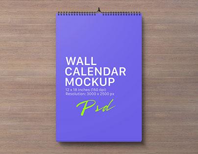 Free Portrait & Landscape Wall Calendar Mockup PSD