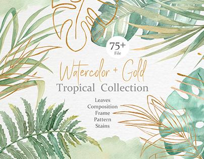 Watercolor & Gold Tropical Set