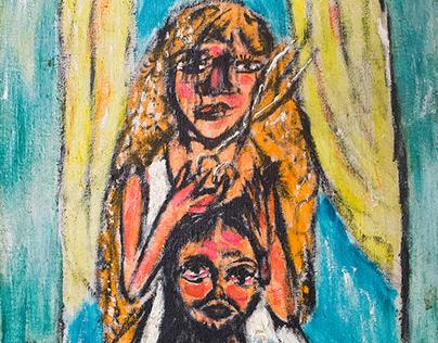 Автопортрет с женщиной, обрезающей волосы, 1993