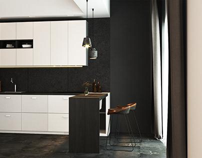 Modern contast kitchen interior design by AIR Studio