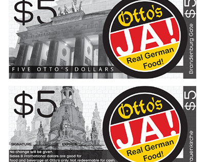 Gift Certificates and Logo for German Restaurant