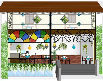 Tobey restaurant exterior & interior decor