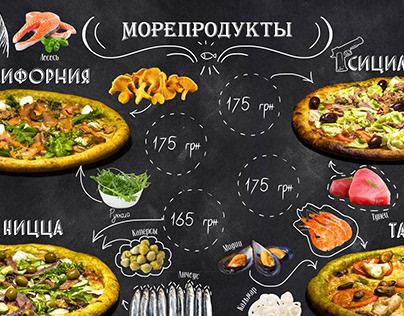 Pizza menu|Hand drawn illustrations
