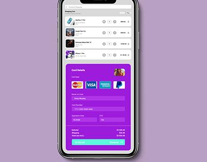 App shopping cart screen