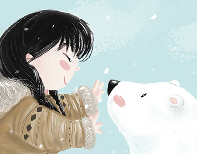 Inuit and polar bear