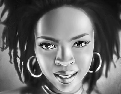 Lauryn Hill Digital Painting by Wayne Flint