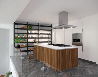 NY flowerbox apartment, kitchen&office