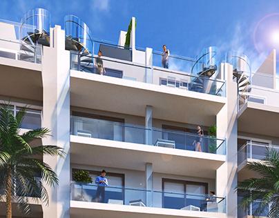 Visualization of exterior. Building's facade
