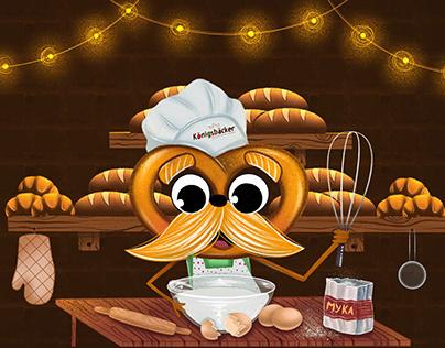 """Brand character pretzel for the bakery """"Königsbacker""""."""
