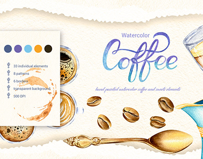 Blue and Violet Watercolor Coffee