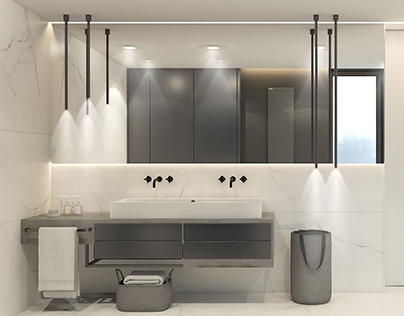 Grey & Calacatta bathroom