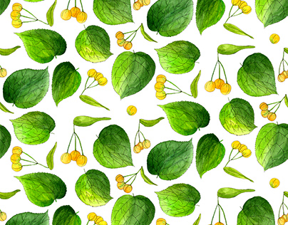 Watercolor Linden Leaves and Seeds Seamless Pattern