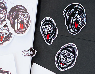 Embroidered tattoo patches with apes