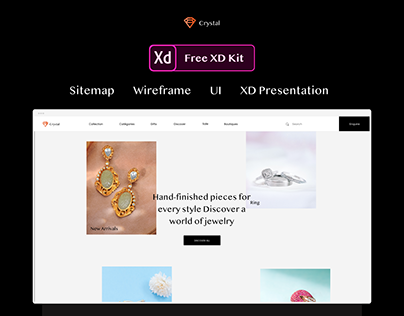Free XD   Jewellery website   Sitemap - Wireframe - UI