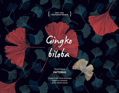 Ginkgo Biloba seamless patterns