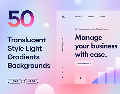 50 Translucent Style Light Gradients - PNG