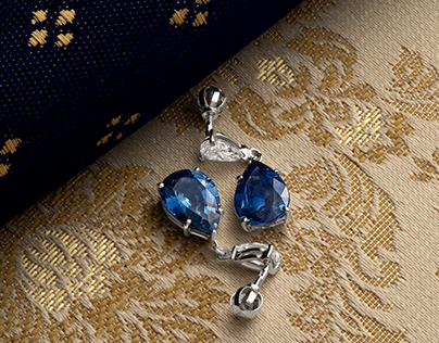 Creative jewelry styling for sapphire earrings