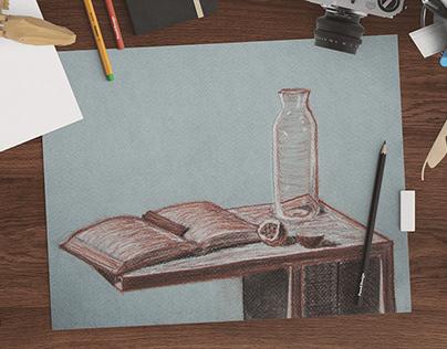 Nature morte : un fruit, un livre et une bouteille