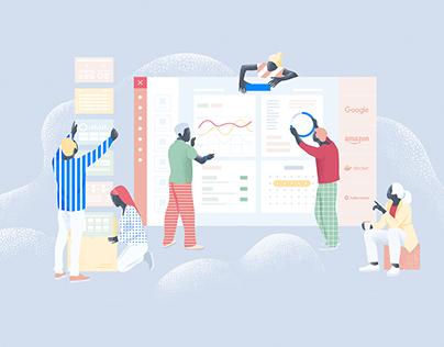 Applications building service illustrations