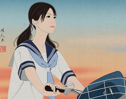 Ukiyo-e girl and Sunset clouds