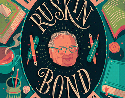 """How to be a writer"" - Ruskin Bond postcard"