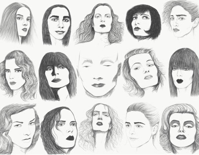 Sample of female portrait sketches