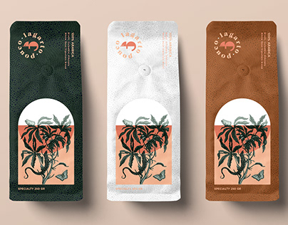 Lagarto Pouco coffee brand and packaging