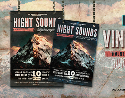 """Vintage promo banner for mountains party """"Hight Sounds"""""""