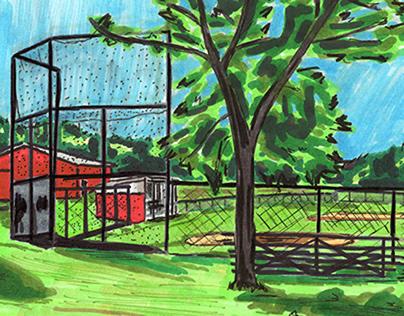 Eldred Glen Baseball Field Urban Sketch