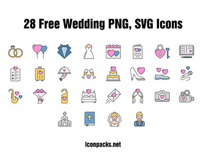 28 Free Wedding PNG, SVG icons
