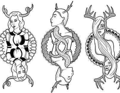 Illustrated Playing Cards - Femme Royalty