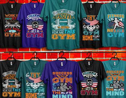 gym t-shirt design bundle.
