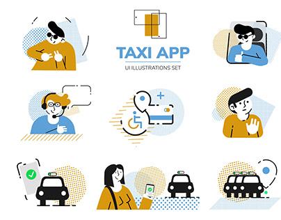 Taxi APP :: UI Illustrations set