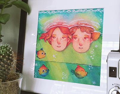Ponyo & Sosuke | Ghibli Watercolor Redraw