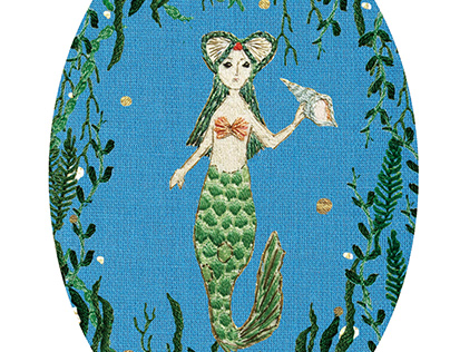 Mermaid (Embroidery collage)