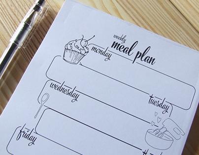 Weekly Meal Plan Notepad | NutsforPaper
