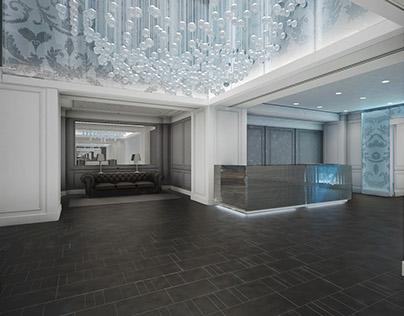 Hotel lobby concept design | Fleurs-de-lis glass panels