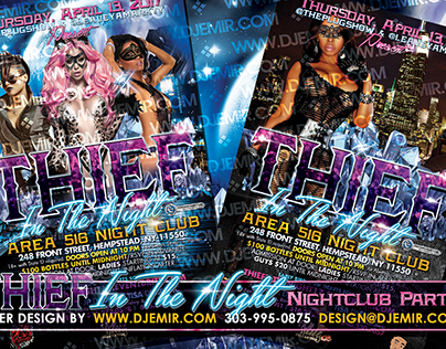 Thief in The night Themed Nightclub Flyer Design NYC