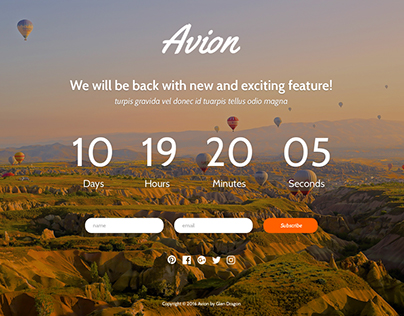 Avion Landing Page Template - Free Design with HTML