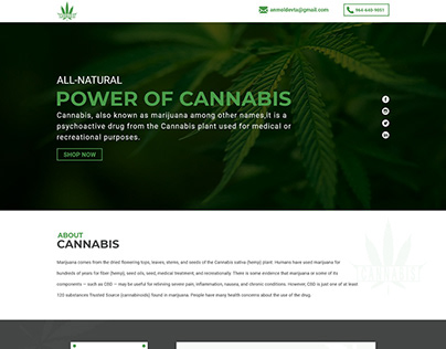 """LANDING PAGE - CANNABIS - """"THE POWER OF CANNABIS"""""""