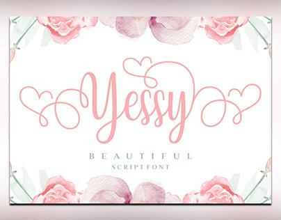 Yessy feminine wedding script for font free download