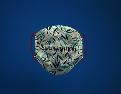 Free Face Mask Mockup on Blue Background (PSD)